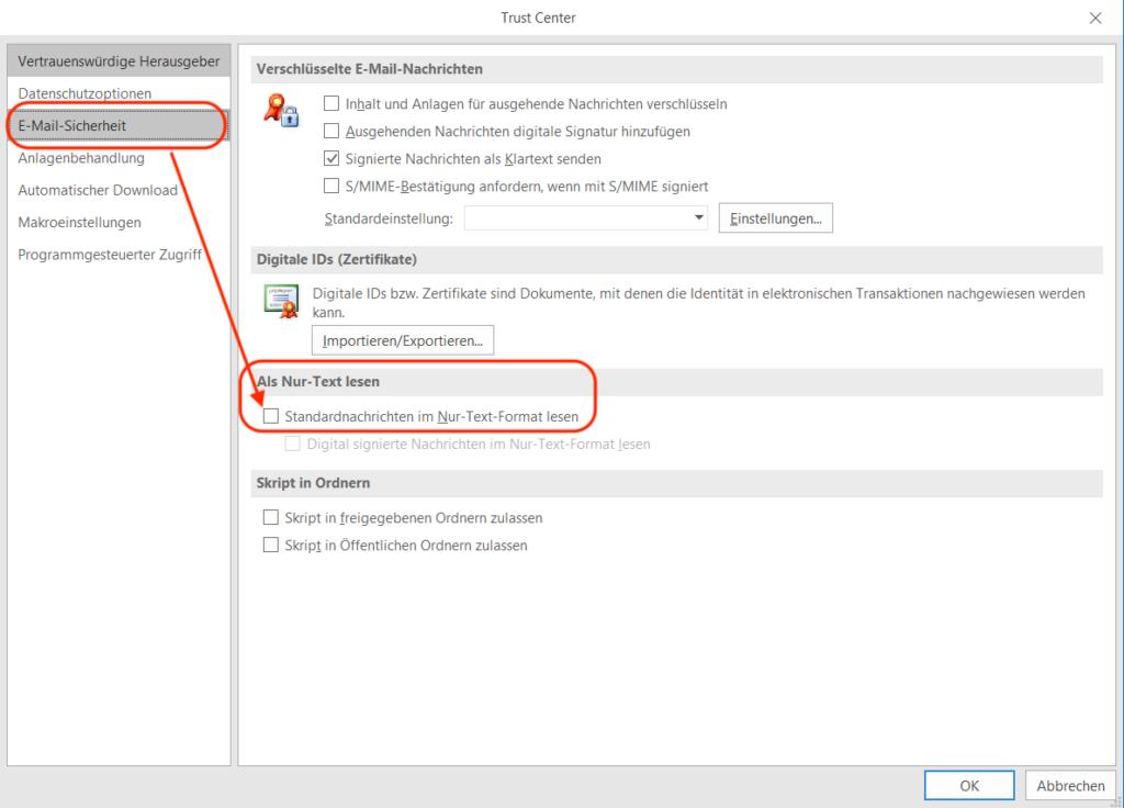 Outlook E-Mail Klartext lesen