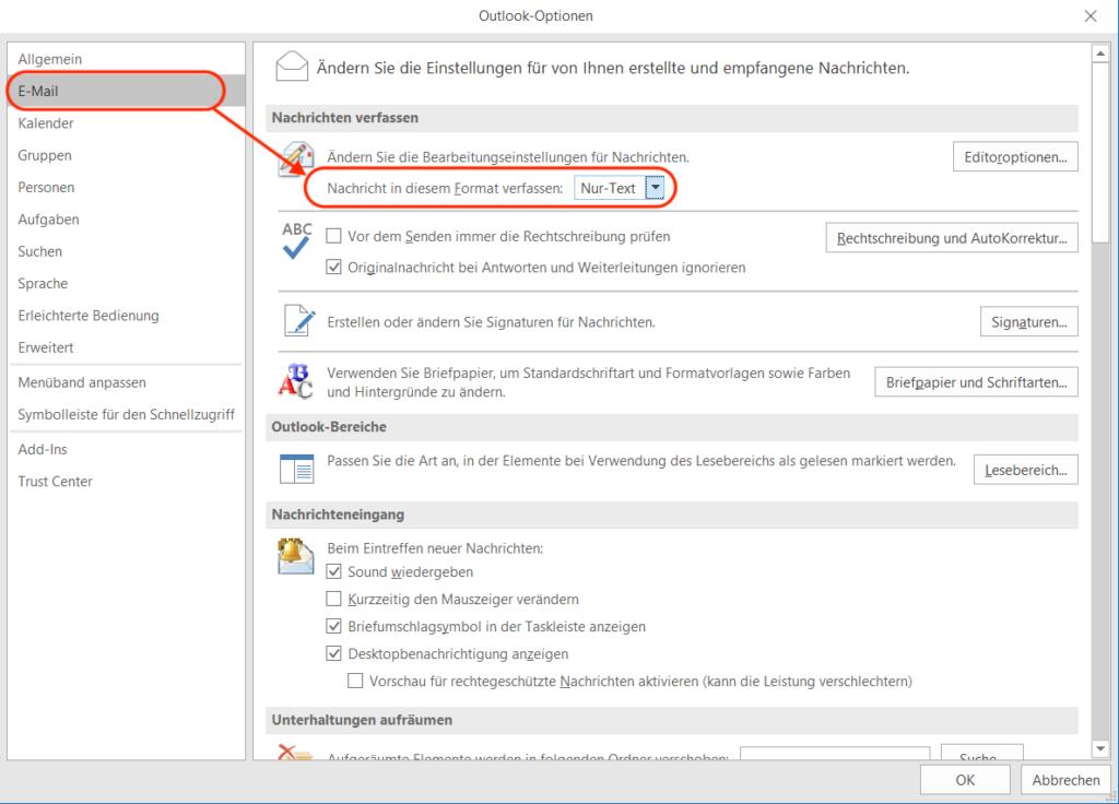 Outlook E-Mail Klartext schreiben