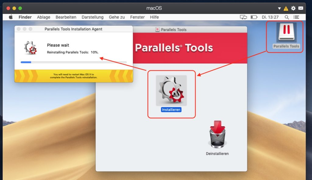 Parallels Tools installieren