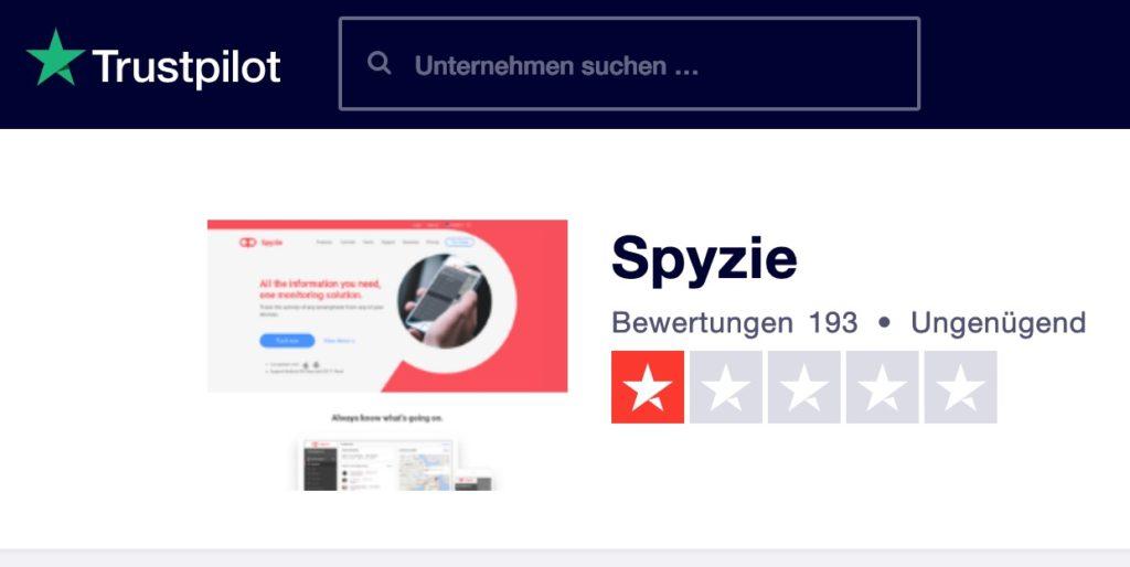 Spyzie Test Bewertung TrustPilot