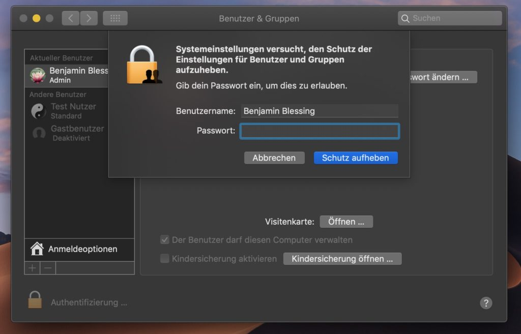 macOS Benutzer und Gruppen bearbeiten