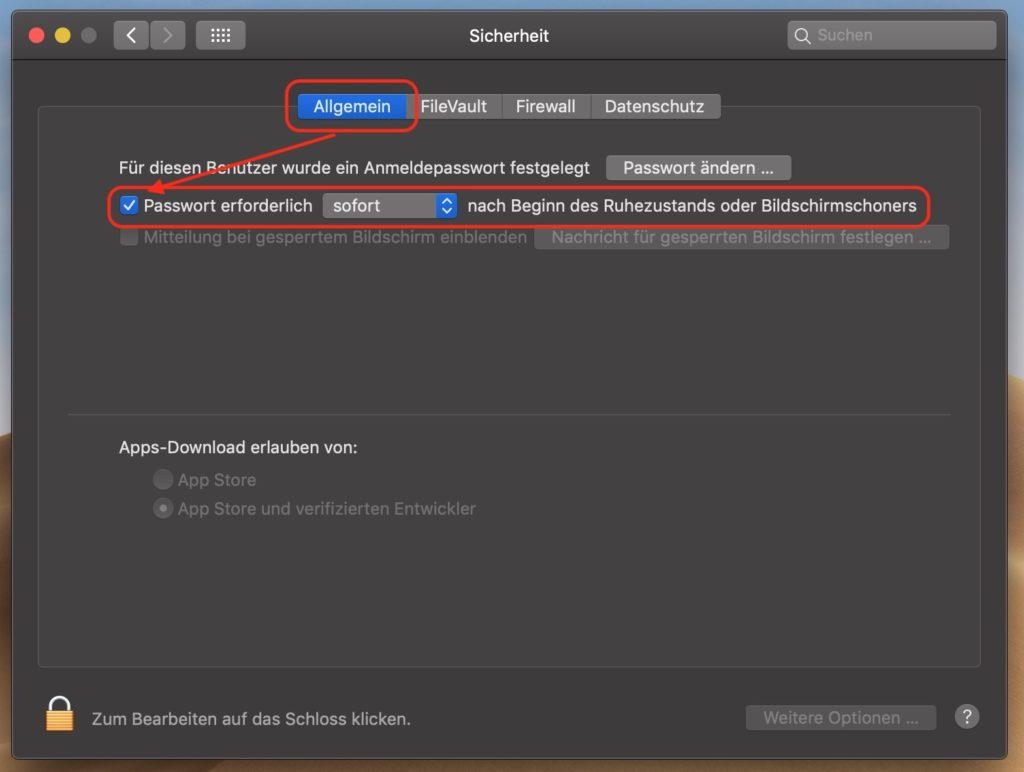 macOS Passwortabfrage aktivieren