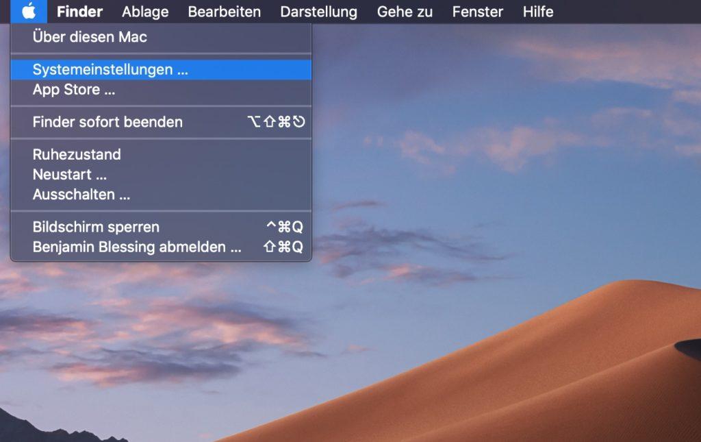 macOS Systemeinstellungen öffnen