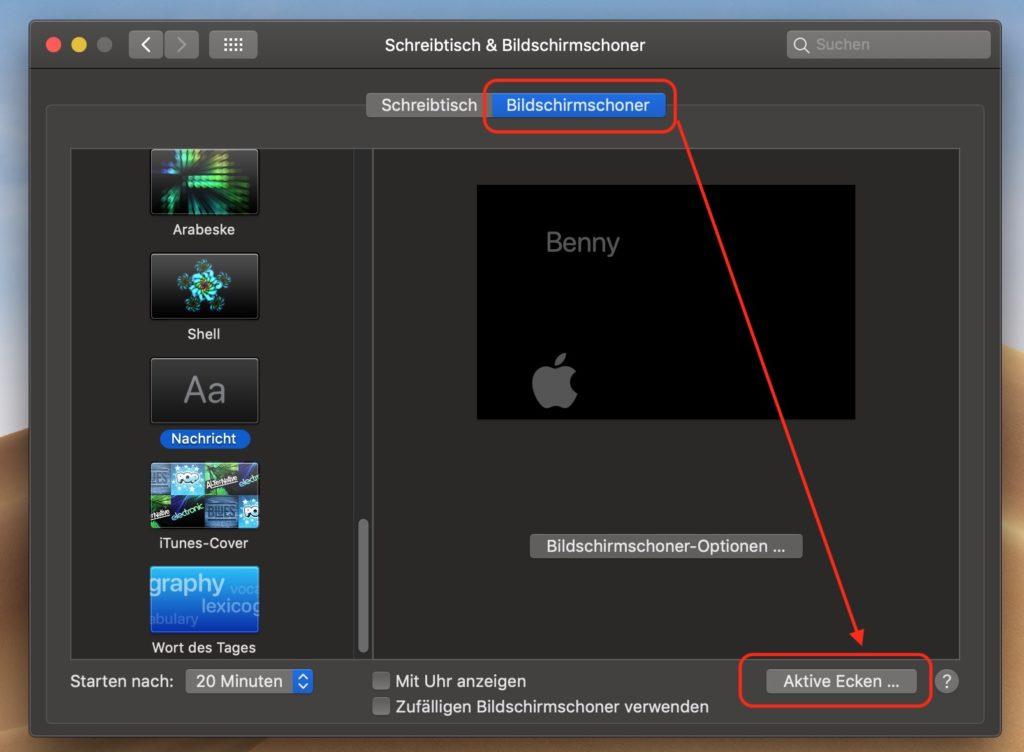macOS aktive Ecken aktivieren