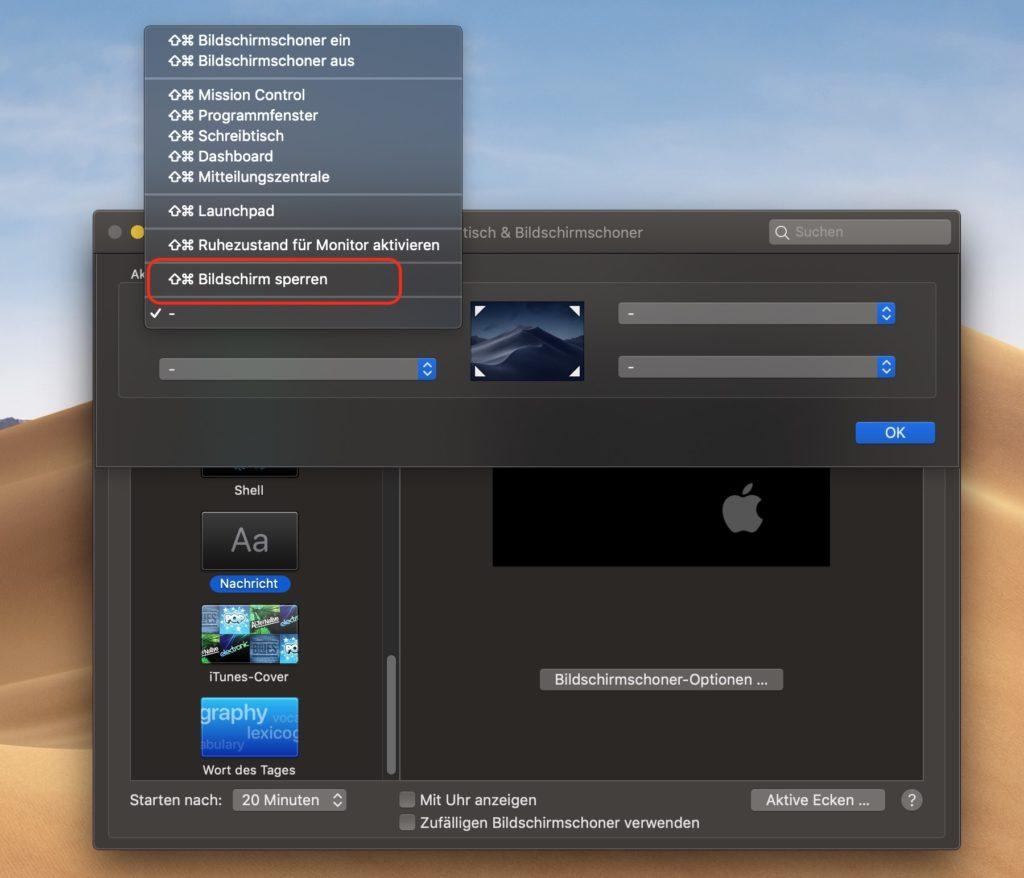 macOS aktive Ecken auswählen