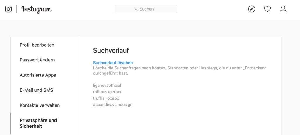Instagram Suchverlauf anzeigen