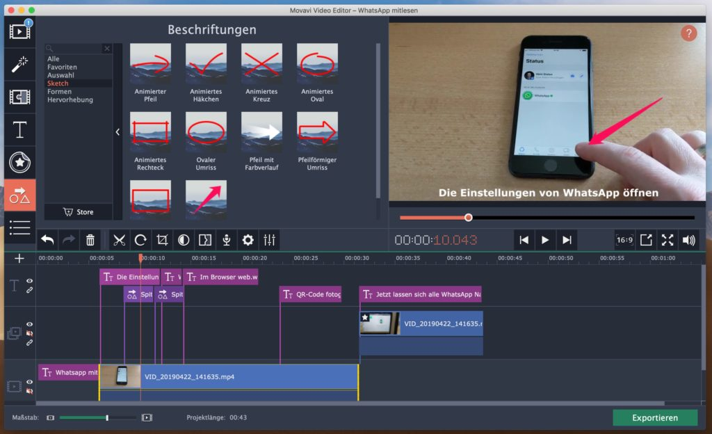 Movavi Video Editor 15 - Spuren für Video