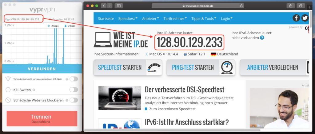 VPN Wissen, VPN Test der IP Adresse
