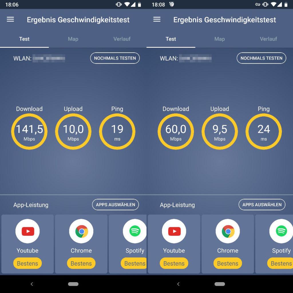 VPN Wissen, VPN Geschwindigkeit Vergleich