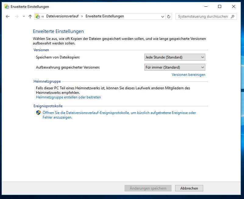 Windows 10 Dateiversionsverlauf einschalten