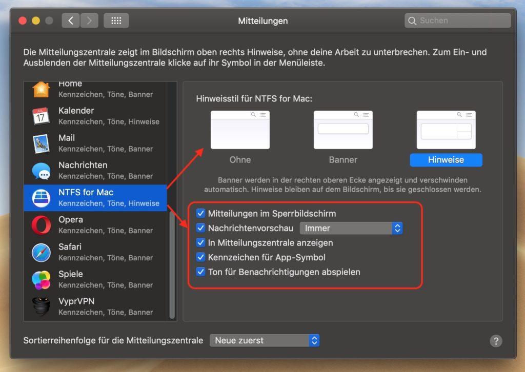 macOS Mitteilungen verwalten, macOS: Benachrichtigungen am Mac ausschalten