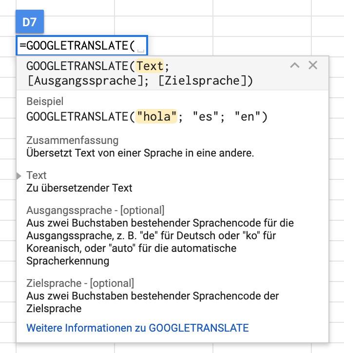 Google Tabellen Formel zum Übersetzen