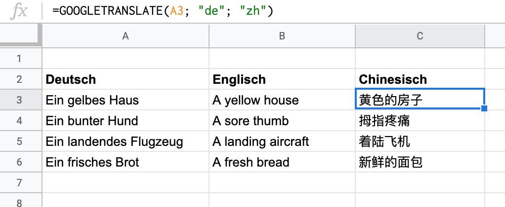 Google Tabellen Sätze übersetzen