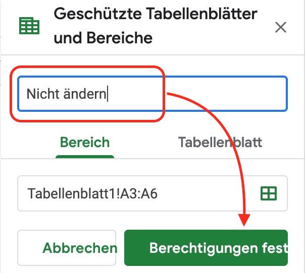 Google Tabellen Zellen sperren