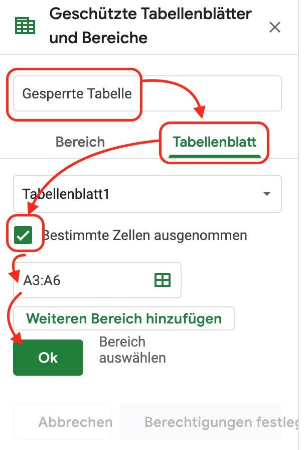 Google Tabellen einzelne Zellen freigeben