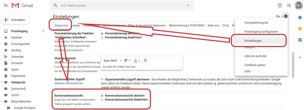 Konversationsansicht in Gmail ausschalten