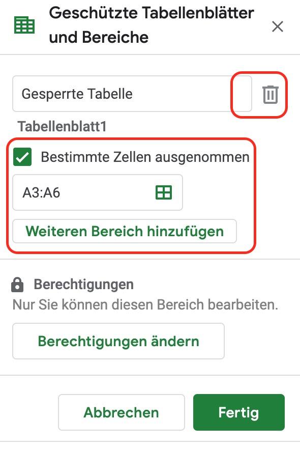 Sperren in Google Tabellen löschen