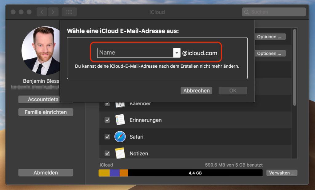 iCloud E-Mail Adresse mit macOS anlegen
