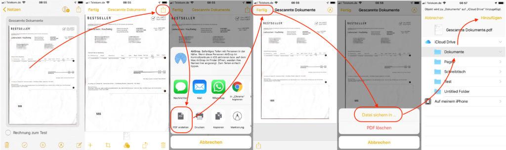 iOS gescannte Dokumente als PDF speichern