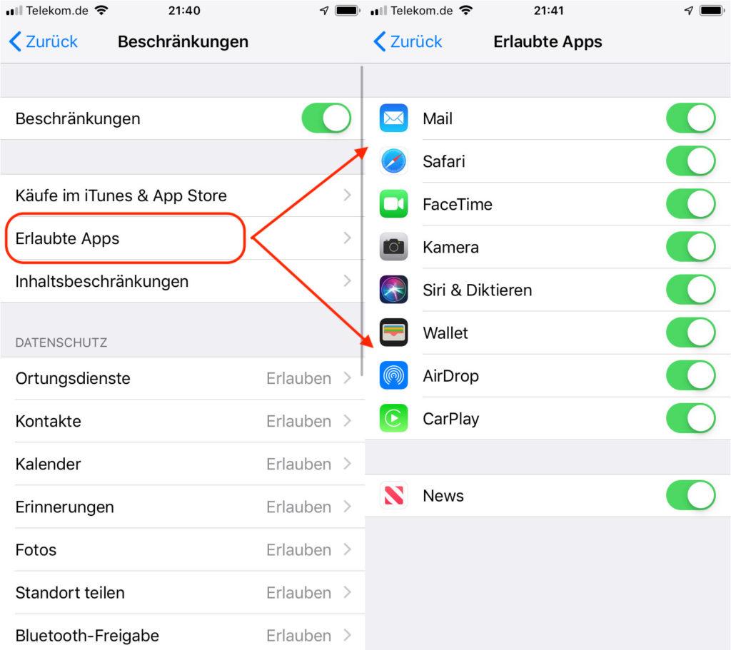iPhone App-Nutzung für Kinder verbieten