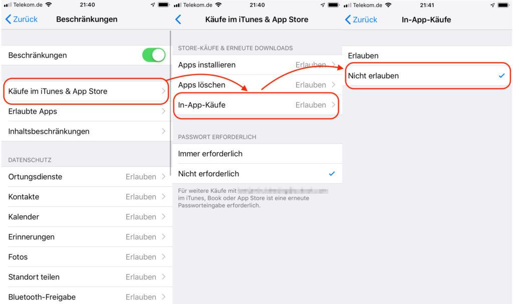 iPhone In-App-Käufe für Kinder verbieten