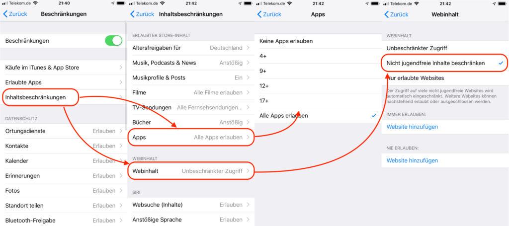 iPhone Webseiten für Kinder verbieten