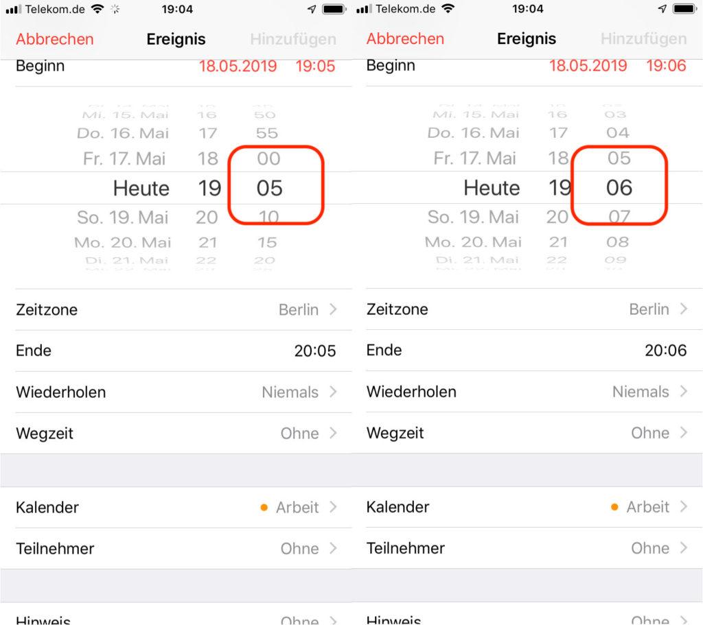 iPhone und iPad - Termin minutengenau eintragen