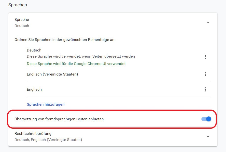 Chrome Übersetzung einschalten