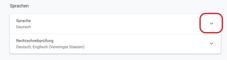 Chrome Einstellungen zu den Sprachen