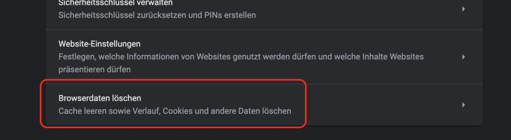 Google Chrome Browserdaten löschen
