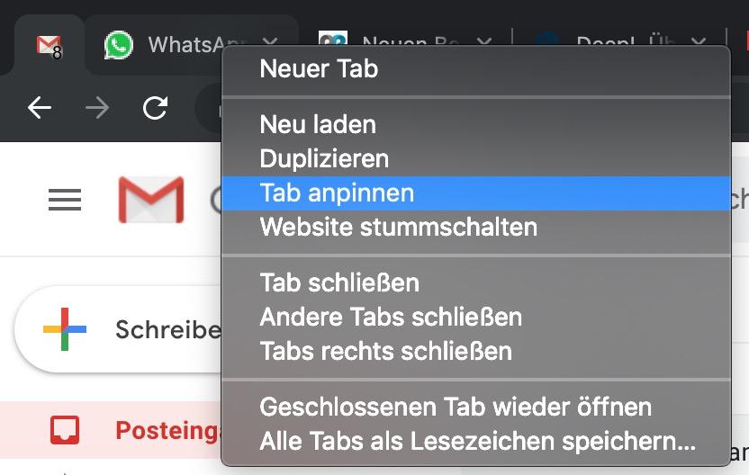 Google Chrome Tabs anpinnen