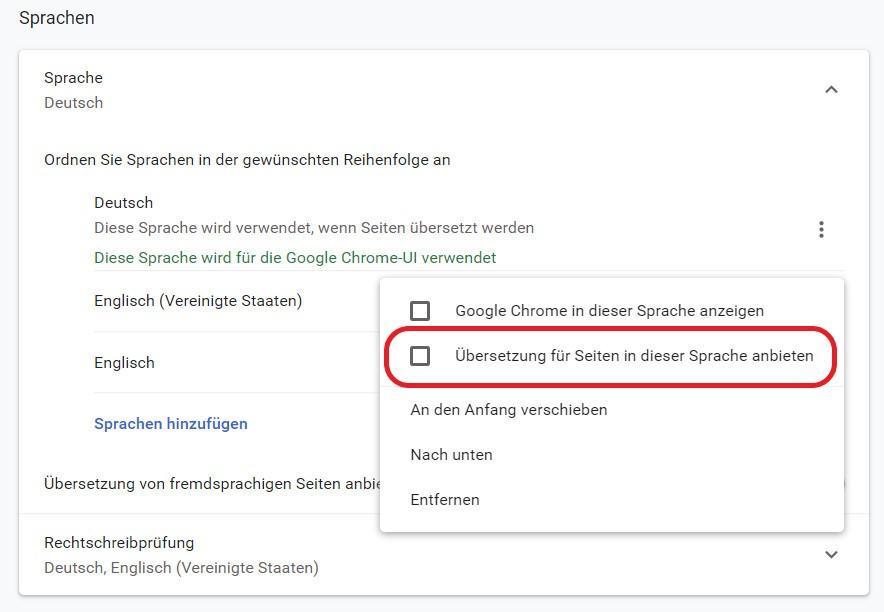 Google Chrome weitere Sprache übersetzen