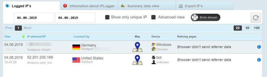 IP-Logger auswerten
