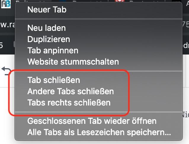 Tabs im Chrome schließen