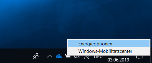 Windows 10 Energieoptionen öffnen