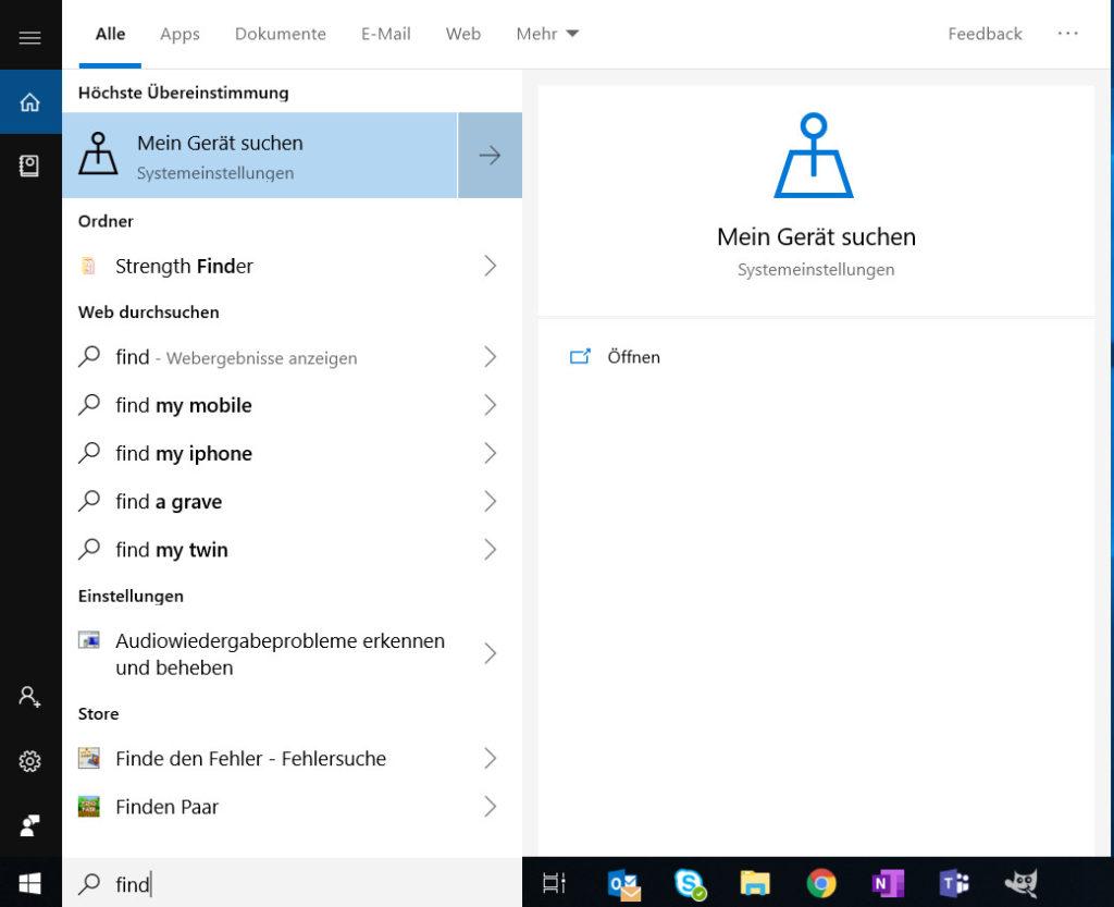 Windows 10 Mein Gerät suchen