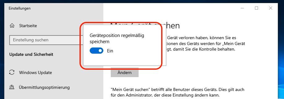 """""""Mein Gerät suchen"""" für Windows 10 einschalten"""
