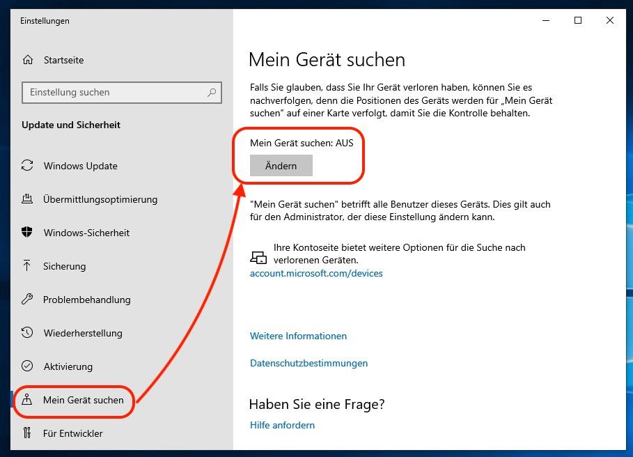 Mein Gerät suchen für Windows 10 einschalten