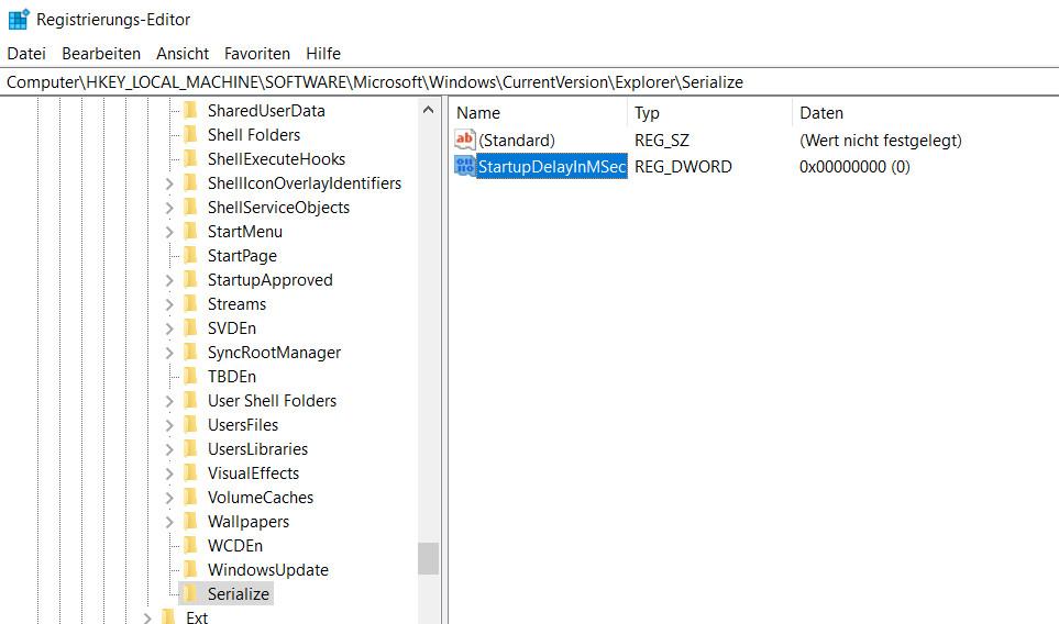 Windows 10 Registrierung DWORD-Wert StartupDelayInMSec