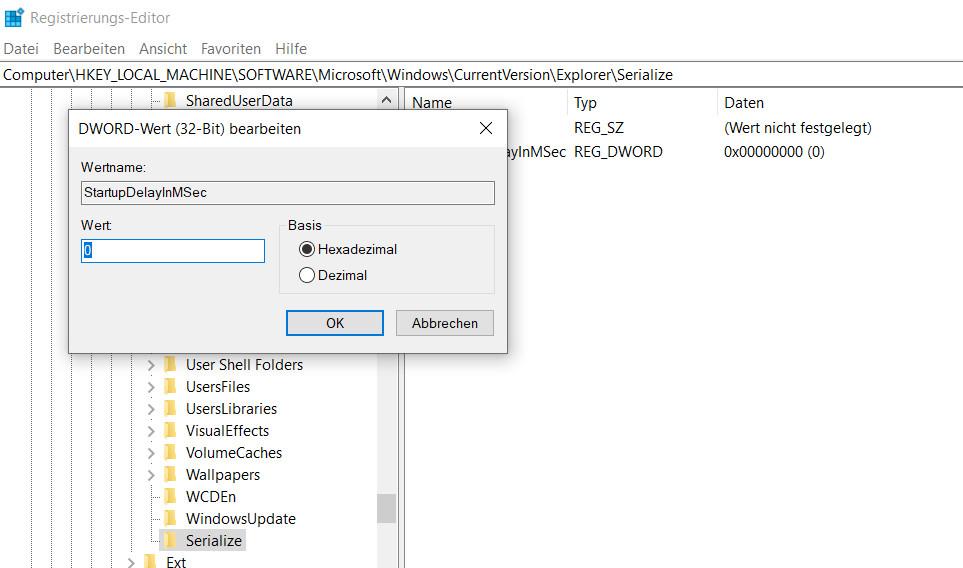 Windows 10 Registrierung DWORD-Wert bearbeiten