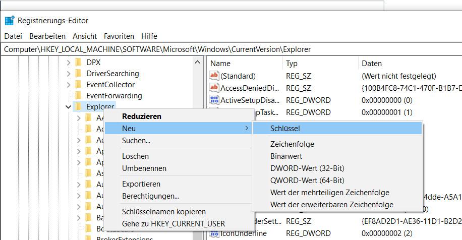 Windows 10 Registrierung Schlüssel erstellen