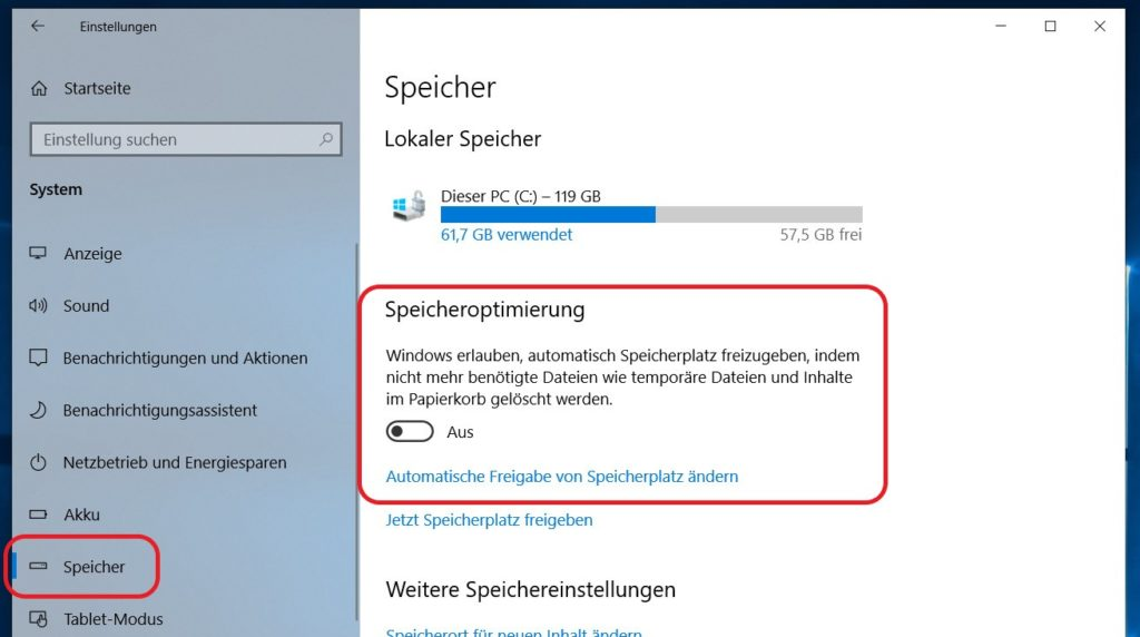 Windows 10 Speicher Einstellungen