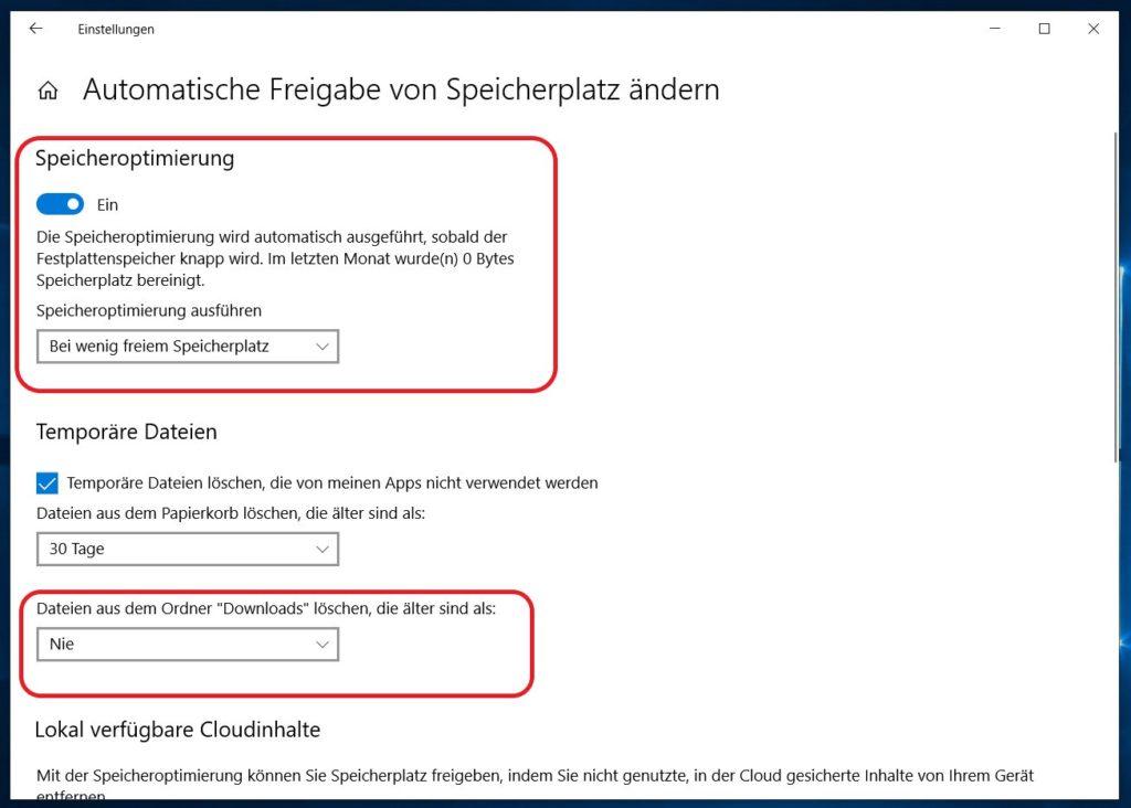 Windows 10 Speicheroptimierung aktivieren