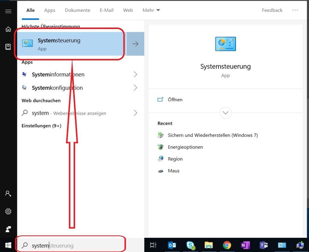 Windows 10 Systemsteuerung öffnen