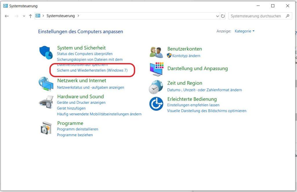 Windows 10 Systemsteuerung - Sichern und Wiederherstellen