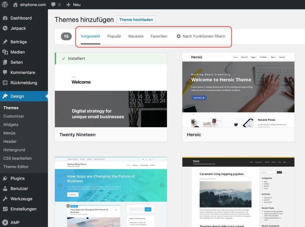WordPress Theme finden
