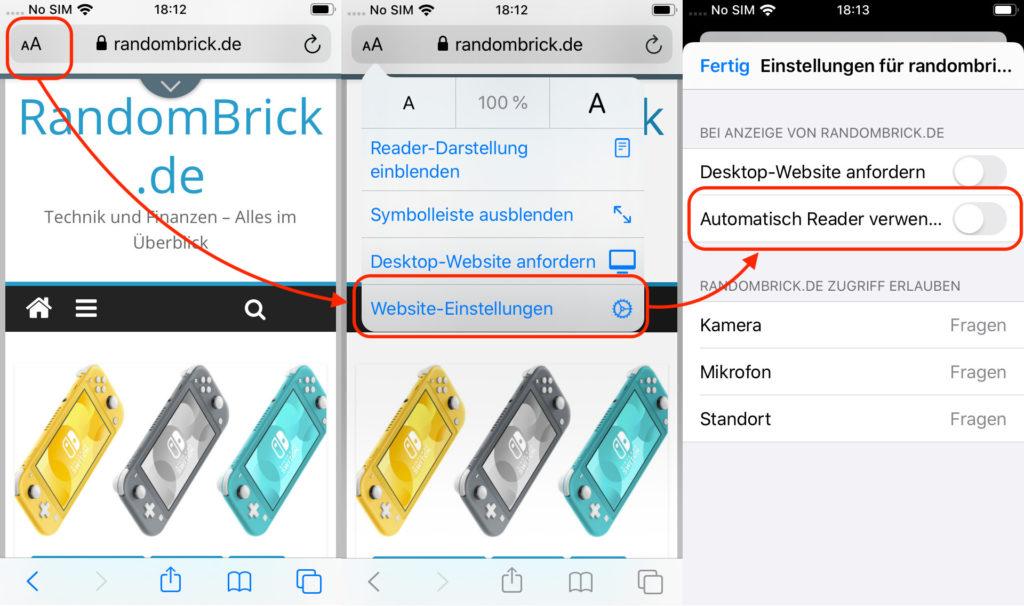 Reader Darstellung für iOS Safari aktivieren