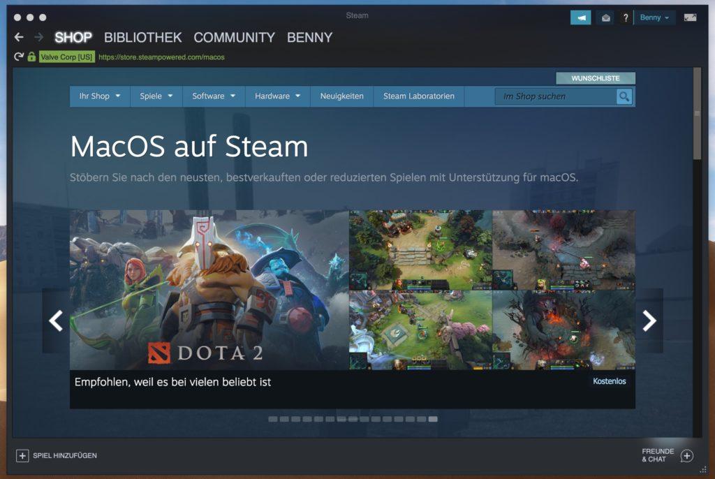 Steam Spiele für Mac