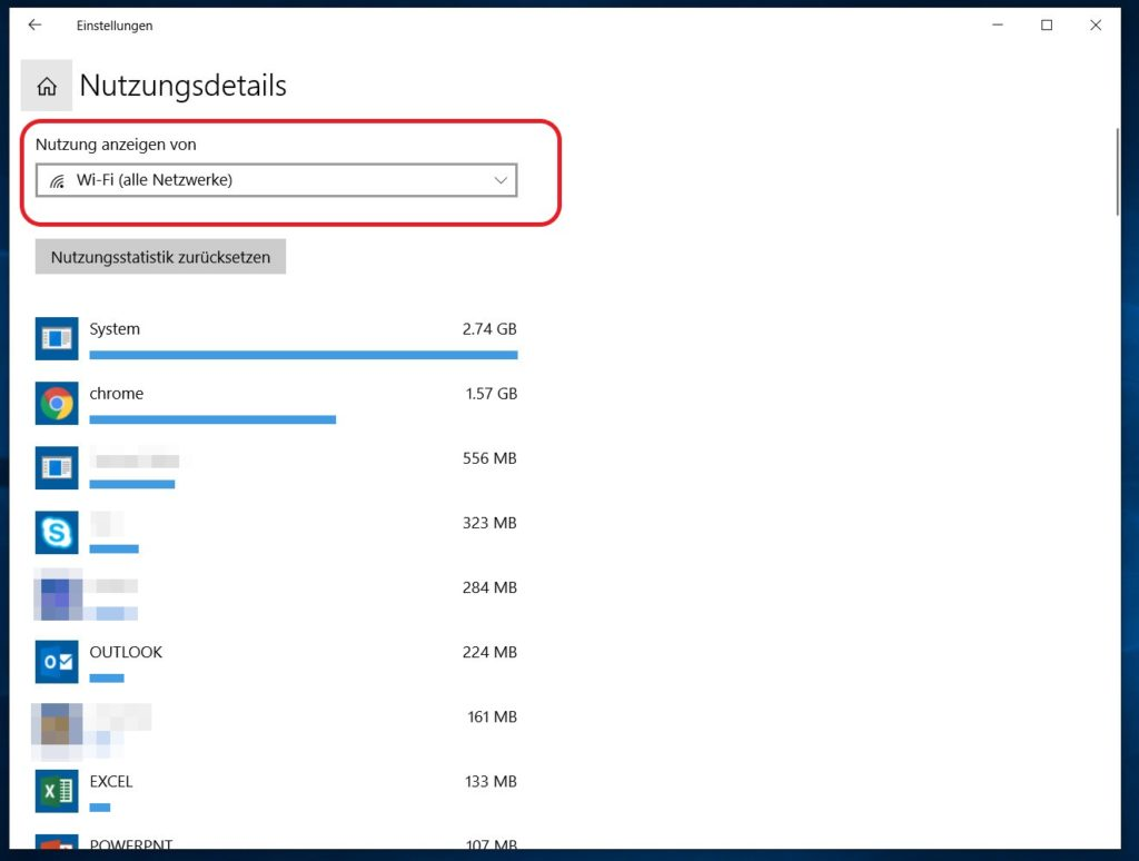 Windows 10 Datennutzung pro Anwendung