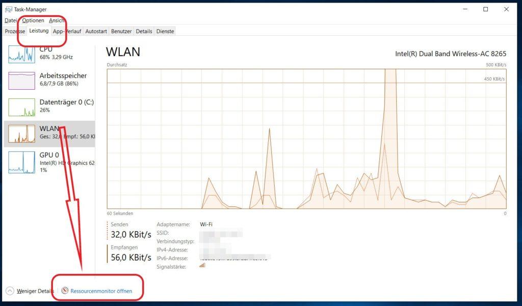 Windows 10 Ressourcenmonitor öffnen